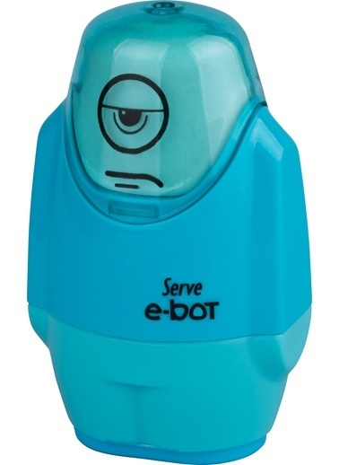 Serve E-Bot Silgili Kalemtıraş Fosforlu Mavı Renkli